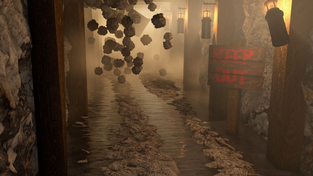 Historical CGI. Cinema 4D Render of a Mine Shaft.