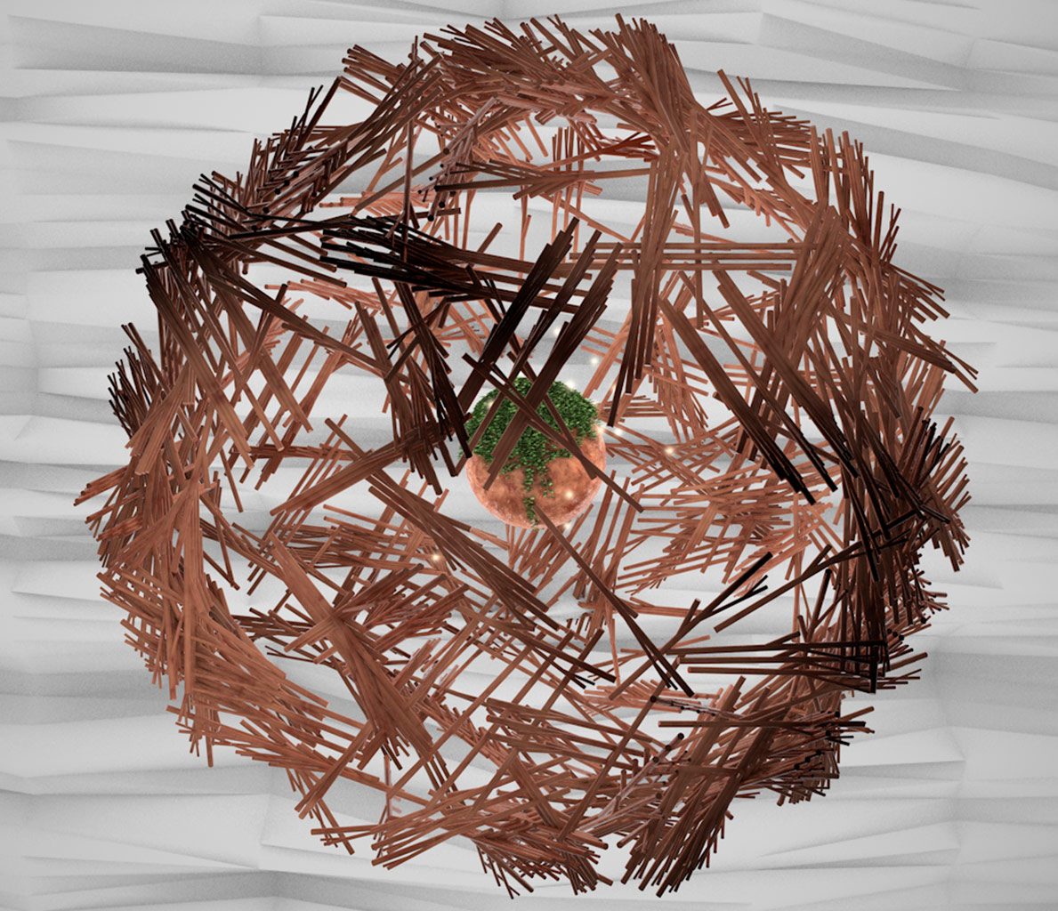 Abstract Cinema 4D Nest Animation. 3D Design, 3D Illustration.