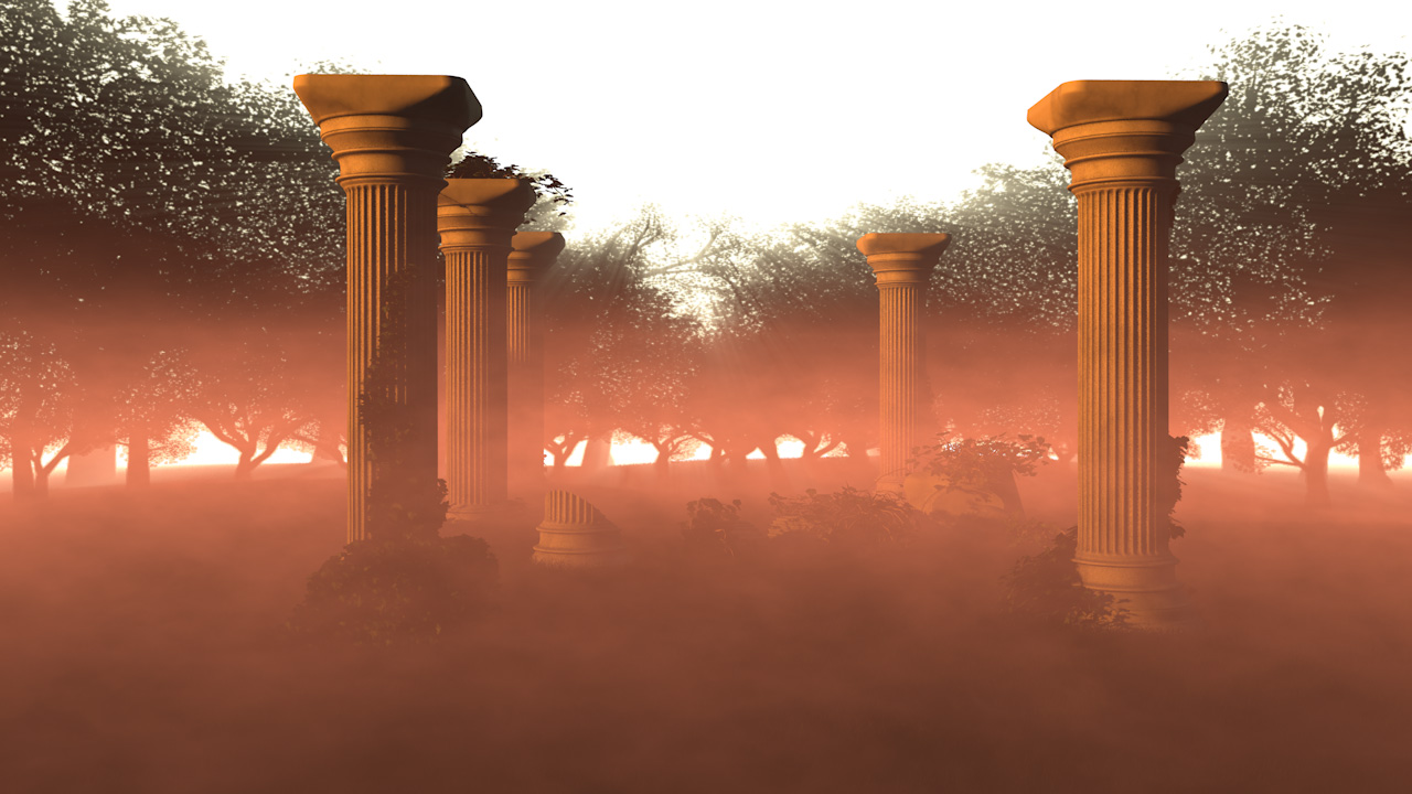 Historical CGI. Cinema 4D Render of an Old Temple.