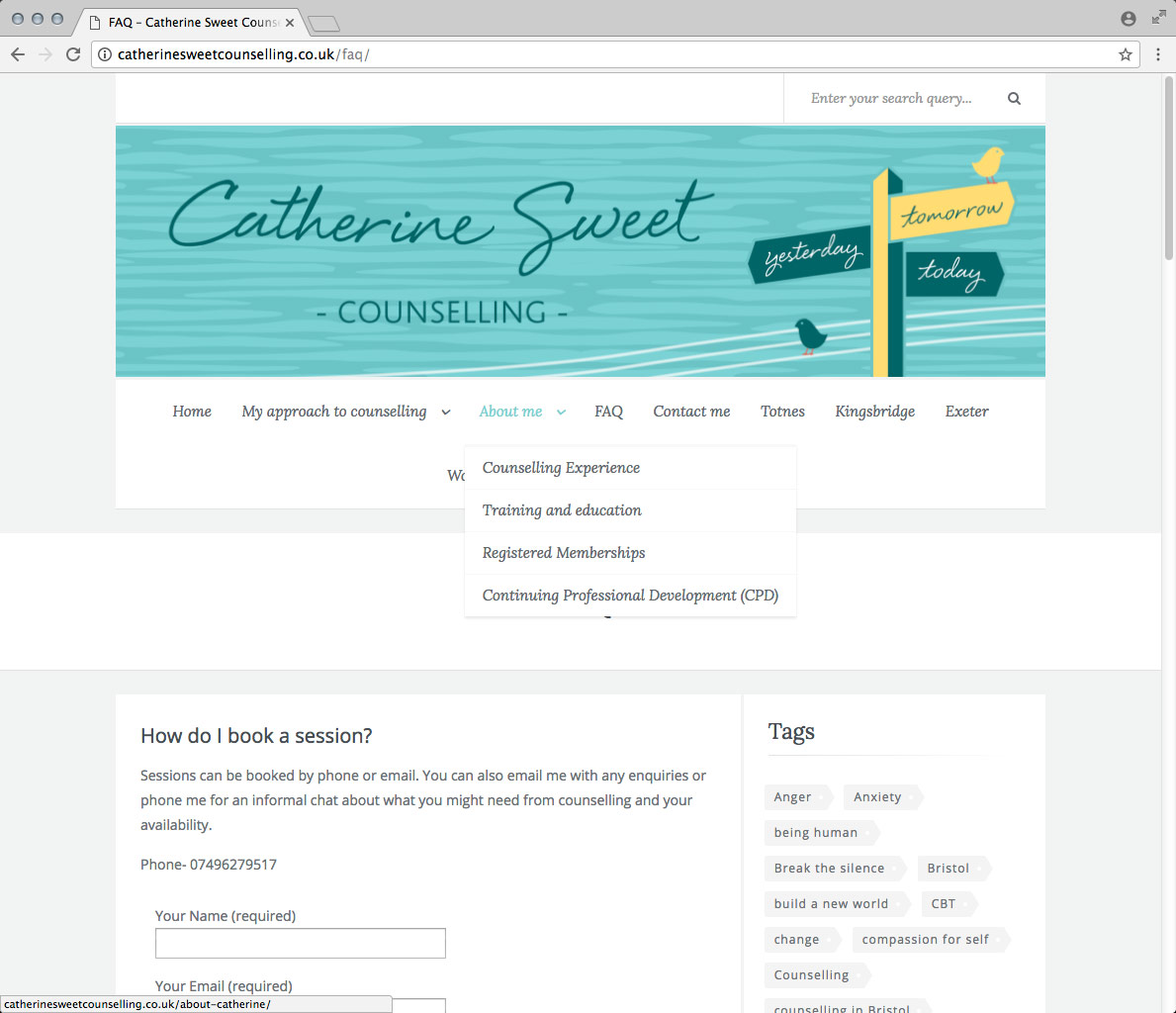 Website Development, Website Design and CMS. A Wordpress Website for Catherine Sweet, Counsellor.