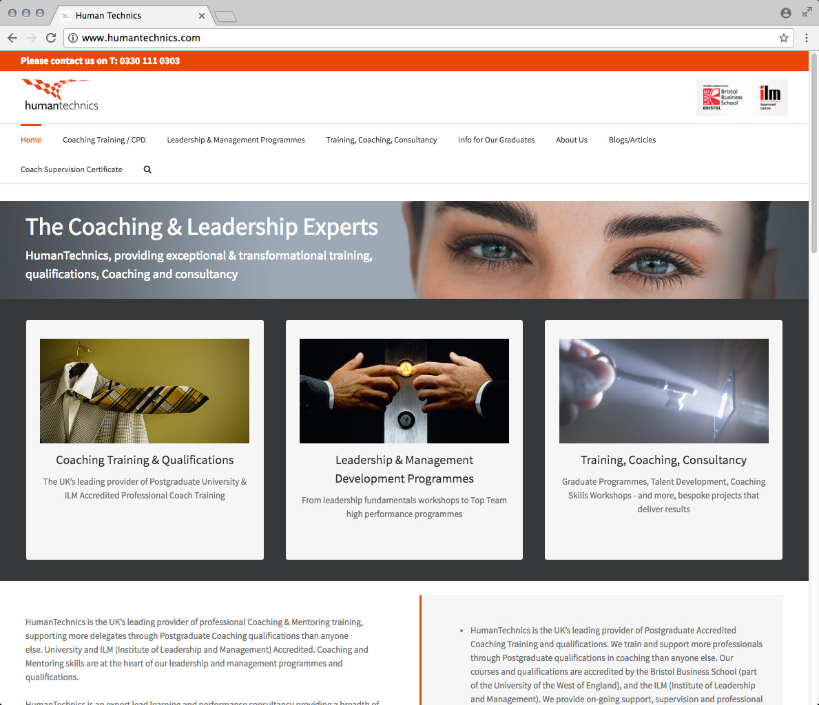 Website Development, Website Design and CMS. A Wordpress Website for Human Technics.