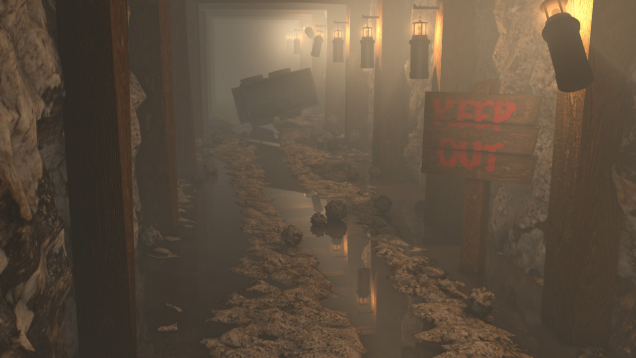 3D visualisation of a mine shaft environment  Historical 3D